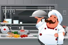Cozinheiro chefe na cozinha Imagens de Stock Royalty Free