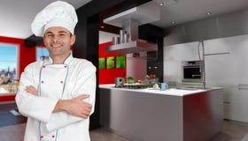 Cozinheiro chefe na cozinha vermelha e preta Imagens de Stock Royalty Free