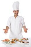 Cozinheiro chefe nepalês novo do homem, refeição oriental fotografia de stock