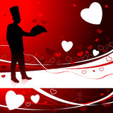 Cozinheiro chefe no fundo do dia do Valentim Fotografia de Stock Royalty Free