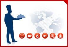 Cozinheiro chefe no fundo do mundo com beira vermelha Imagem de Stock Royalty Free