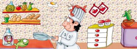 Cozinheiro chefe no trabalho na cozinha com potenciômetros Fotos de Stock Royalty Free