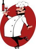 Cozinheiro chefe nos patins de rolo que trazem o vinho Fotografia de Stock