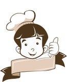 Cozinheiro chefe novo pequeno bonito Logo do menino no bom sinal Foto de Stock