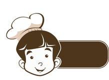 Cozinheiro chefe novo pequeno bonito Logo do menino no bom sinal Fotografia de Stock