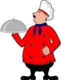 Cozinheiro chefe orgulhoso com bandeja Fotografia de Stock Royalty Free