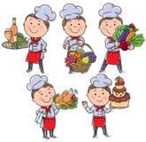 Cozinheiro chefe pequeno com alimento e refeições Imagem de Stock Royalty Free