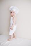 Cozinheiro chefe pequeno no retrato branco do fundo Foto de Stock Royalty Free