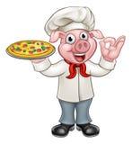 Cozinheiro chefe Pig Character da pizza dos desenhos animados Imagem de Stock