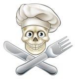 Cozinheiro chefe Pirate Cartoon do crânio ilustração royalty free
