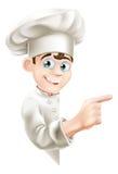 Cozinheiro chefe Pointing dos desenhos animados no sinal Fotos de Stock Royalty Free