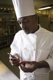 Cozinheiro chefe que cinzela a beterraba. Imagem de Stock