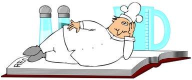 Cozinheiro chefe que coloca em um livro da receita Imagem de Stock
