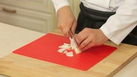 Cozinheiro chefe que corta acima uma cebola com uma faca vídeos de arquivo