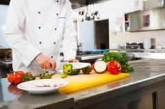 Cozinheiro chefe que cozinha em sua cozinha Fotografia de Stock Royalty Free