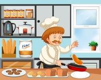 Cozinheiro chefe que cozinha em uma cozinha ilustração stock