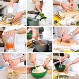 Cozinheiro chefe que cozinha o alimento Imagens de Stock Royalty Free