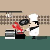 Cozinheiro chefe que cozinha o camarão Imagens de Stock Royalty Free
