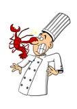 Cozinheiro chefe que está sendo atacado pela lagosta Fotografia de Stock Royalty Free