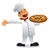 Cozinheiro chefe que guarda uma placa da pizza Fotos de Stock