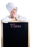 Cozinheiro chefe que pensa sobre o menu do almoço Fotografia de Stock