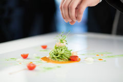 Cozinheiro chefe que prepara um prato da massa Imagem de Stock Royalty Free