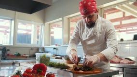 Cozinheiro chefe que prepara uma salada que mistura os ingredientes na cozinha do restaurante video estoque