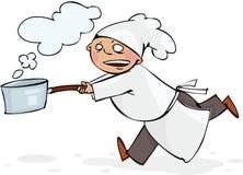 Cozinheiro chefe Running Fotografia de Stock Royalty Free