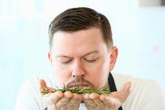 Cozinheiro chefe Smelling Aromatic Rosemary Herb da barba do Blogger fotografia de stock