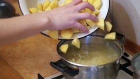 Cozinheiro chefe Throws Sliced Potatoes da mulher em um potenciômetro para ferver a cozinha doméstica Moition lento filme