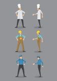 Cozinheiro chefe, trabalhador e agente de segurança no ícone uniforme do vetor Imagem de Stock