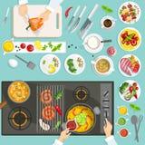 Cozinheiro chefe Workplace Top View ilustração stock