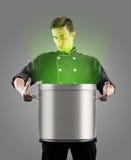 Cozinheiro com bandeja grande rendição 3D e foto De alta resolução Foto de Stock