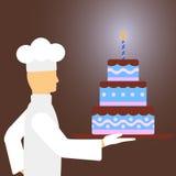 Cozinheiro com bolo de aniversário Foto de Stock Royalty Free