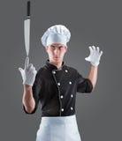 Cozinheiro com faca rendição 3D e foto De alta resolução Imagem de Stock Royalty Free