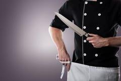 Cozinheiro com faca, vista dianteira rendição 3D e foto De alta resolução Imagens de Stock Royalty Free