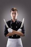 Cozinheiro com facas, vista dianteira rendição 3D e foto De alta resolução Imagens de Stock