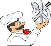 Cozinheiro com placa Imagens de Stock Royalty Free