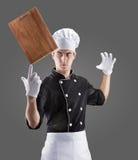 Cozinheiro com placa de desbastamento rendição 3D e foto De alta resolução Foto de Stock Royalty Free