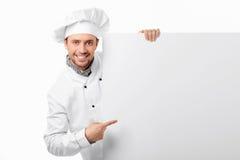 Cozinheiro com placa em branco Imagem de Stock