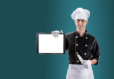 Cozinheiro com tabuleta rendição 3D e foto De alta resolução Fotografia de Stock Royalty Free
