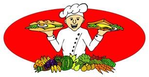 Cozinheiro com um sanduíche e um baguette Imagens de Stock