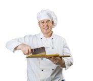 Cozinheiro com uma faca Fotografia de Stock