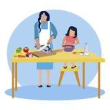 Cozinheiro da mamã e da filha no vetor da cozinha ilustração stock
