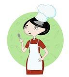 Cozinheiro da mulher no trabalho Fotos de Stock Royalty Free