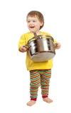 Cozinheiro do bebê com bandeja imagem de stock