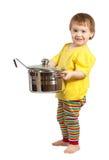 Cozinheiro do bebê com bandeja. Isolado sobre o branco imagem de stock royalty free