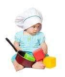 Cozinheiro do bebê dentro sobre o branco imagem de stock