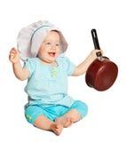 Cozinheiro do bebê sobre o branco fotografia de stock