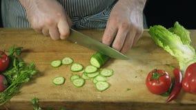 Cozinheiro do cozinheiro chefe que corta profissionalmente um pepino com uma faca do ` s do cozinheiro chefe na placa de corte filme